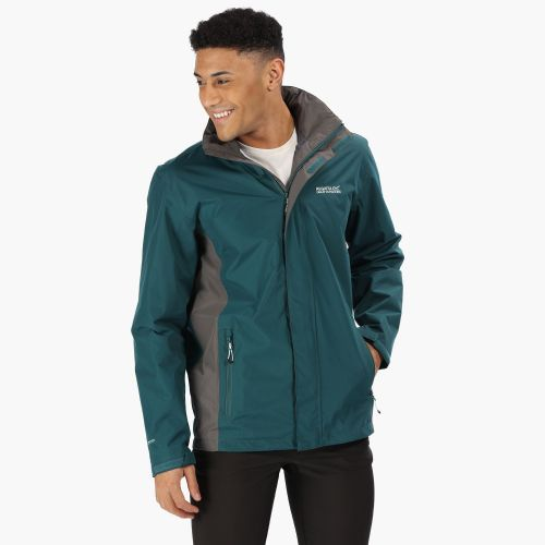 Men's Matt Lightweight Waterproof Jacket With Concealed Hood Deep Teal Magnet Grey